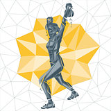 Vector silhouettes of woman doing fitness and crossfit workouts