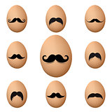 Eggs With Mustache Big Set Isolated