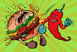 pepper beats Burger, vegetarianism vs fast food