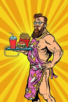 Sexy male waiter fast food restaurant
