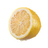 Cut lemon on white background