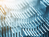 Metallic heatsink close up