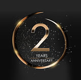 Template Logo 2 Years Anniversary Vector Illustration