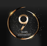 Template Logo 9 Years Anniversary Vector Illustration