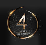 Template Logo 4 Years Anniversary Vector Illustration