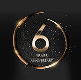 Template Logo 6 Years Anniversary Vector Illustration