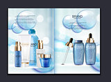 Design Cosmetics Product  Brochure Template for Ads or Magazine Background. 3D Realistic Vector Iillustration