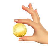 Realistic 3D Silhouette of hand with gold coin. Vector Illustrat