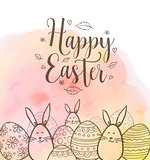 Easter greeting card with eggs and rabbits