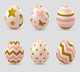 Easter eggs with golden elements