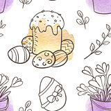 Easter seamless pattern with cake and flowers