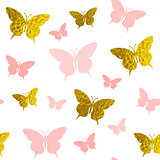 Seamless pattern with pink and golden butterflies