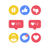 Smm and social activity icons - likes and shares, social promoti