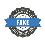 Fake badge - sticker with inscription Fake, falsification concep
