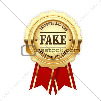 Fake rosette - golden seal with inscription Fake, falsification