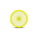 Bicycle wheel in yellow design with shadow