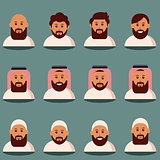 Muslim face and torso flat icons