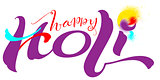 Happy holi indian festival text for greeting card