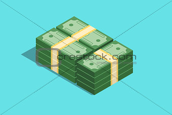 a cash paper money with isometric style and flat