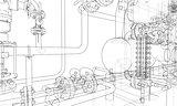Sketch industrial equipment. Vector