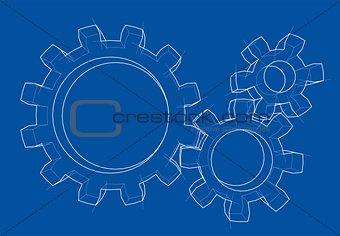 3D gear wheel. Vector
