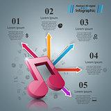 Music Infographic. Treble clef icon. Note icon.