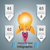 Rocket bulb icon. Abstract  illustration Infographic.
