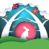 Rabbit illustration. Cartoon paper landscape.