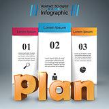 Plan 3d business infographics.