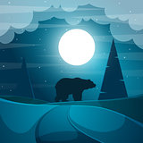 Bear illustration. Cartoon night landscape.