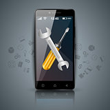 Digital gadget, smartphone,tablet, wrench, screwdriver icon. Business infographic.