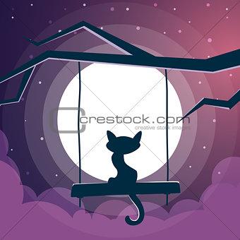 Cat illustration. Cartoon night landscape.