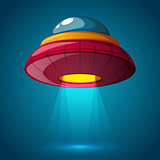 Unidentified flying object - cartoon illustration.