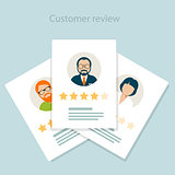 Reviewer opinion - customer review of service, rating concept