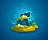 Open trunk. Hidden pirate chest with gold treasures in ocean