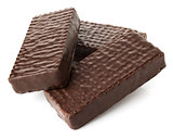 Three chocolate wafers with chocolate filling