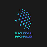 Digital world, abstract vector symbol, technology concept.