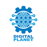 Digital planet global technology logo design template.