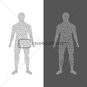 The digital man. Abstract of human body on white and black background