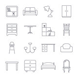 Collection of home furniture icons in thin line style. Editable Stroke.