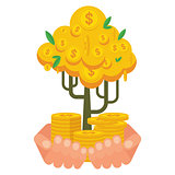 hand holding golden money tree