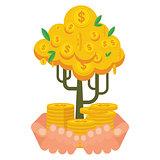hand holding golden money tree
