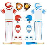 set of baseball eqipment red