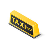Yellow roof taxi sign isolated on white background. Isometric vector illustration