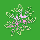 Hello spring stylized calligraphic inscription adorned with leaves on a green background. Spring template for your design, cards, invitations, posters.
