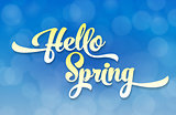Hello spring light stylized inscription on the background of the sky with the effect of bokeh. Spring template for your design, cards, invitations, posters.