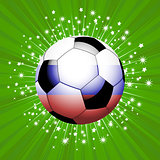 Football soccer ball in red blue and white on star burst