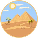 Egyptian Pyramids Illustration In A Circle Frame
