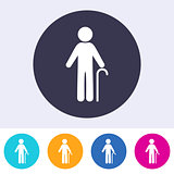 Vector pensioner man sign icon