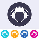 Vector round ear protection sign icon